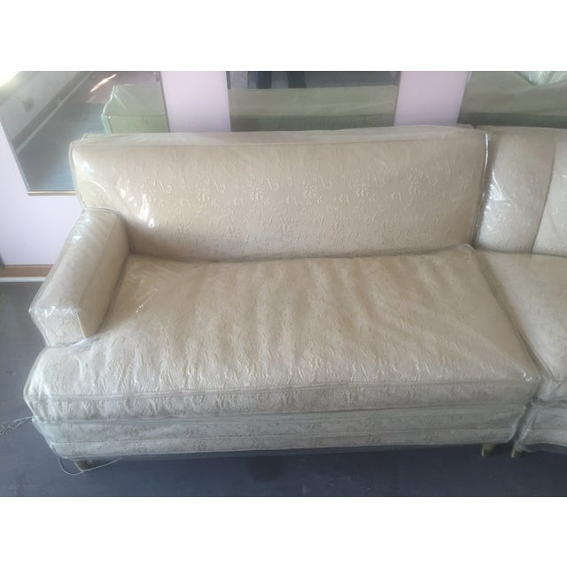 Mid-Century Modern Cream Floral Sectional - Image 5 of 6