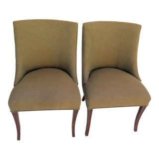 1950's Beige Slipper Chairs - A Pair