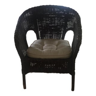 Vintage Rattan Chair with Cushioned Seat