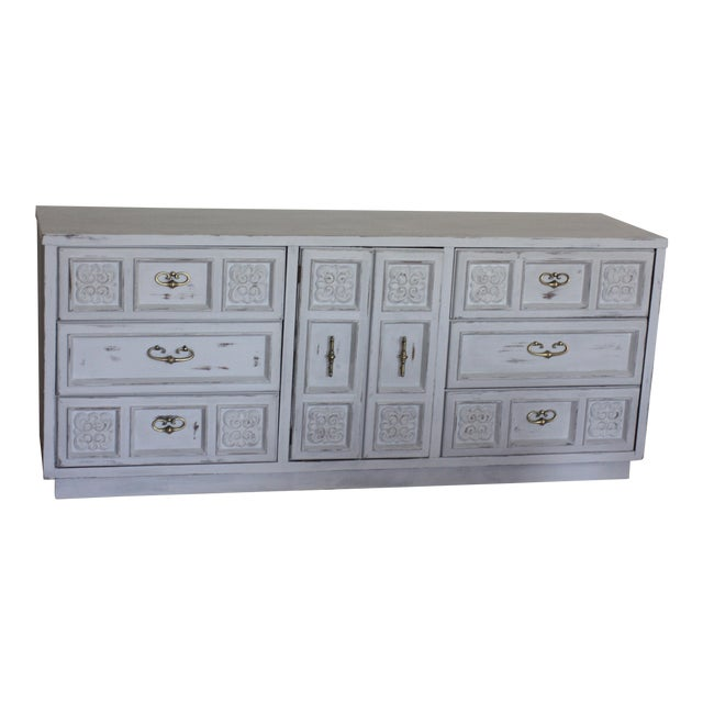 Carved Wood Detailed Gray Dresser - Image 1 of 11