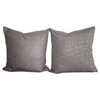 Decorative Grey Metallic Pillows - A Pair
