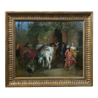 John Lewis Brown 19th Century French Cavalrymen Resting Painting