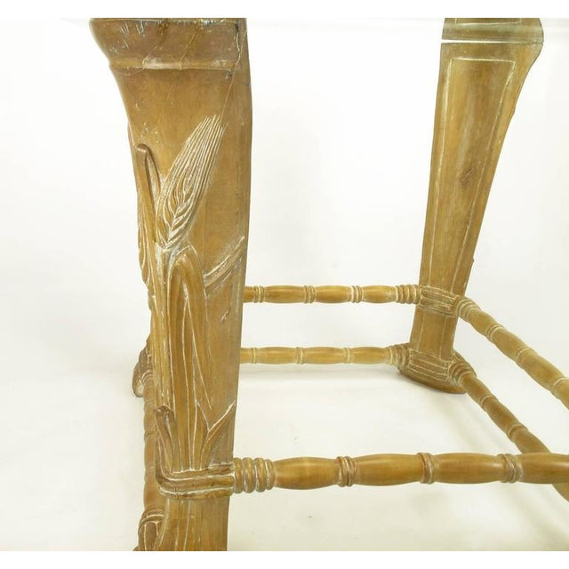 Limed Alder Center Table with Carved Wheat Relief and Glass Top - Image 7 of 10
