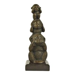 Vienna Bronze Three Wise Monkey Sculpture on Marble Base