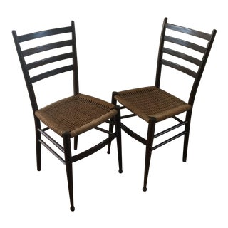 Vintage Italian Woven Seat Dining Chairs - A Pair