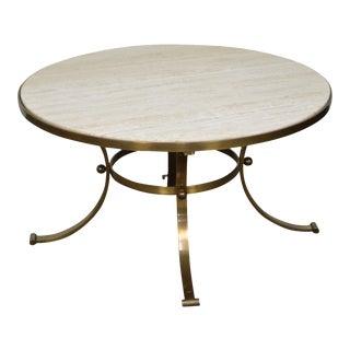 Mid Century Modern Round Travertine Top Brass Base Coffee Table