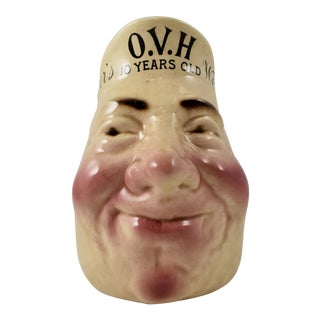 French Sarreguemines Greer's Whiskey Advertising Face Jug