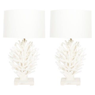 Pair of Sculptural Staghorn White Coral Table Lamps