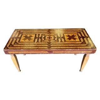 Vintage Folk Art Wood Inlay Bench