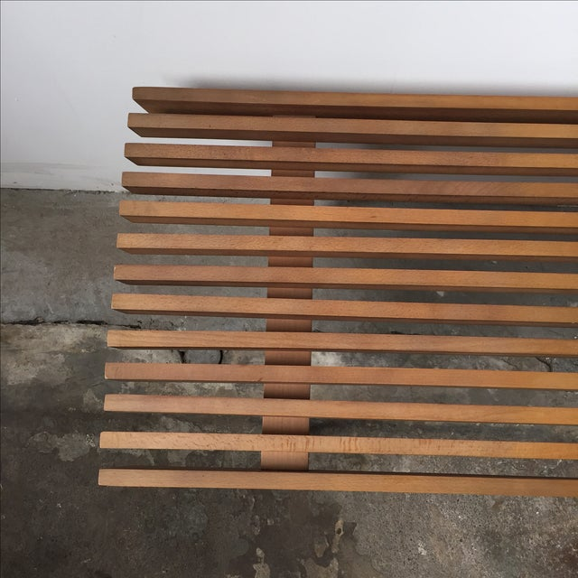 Mid-Century Yugoslavian Slat Bench With Peg Legs - Image 5 of 11