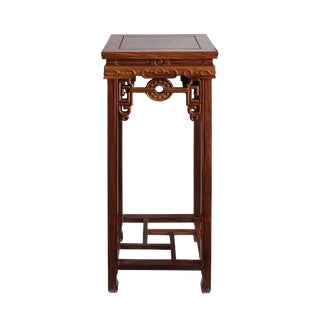 Chinese Medium Brown Wood Square Pedestal Plant Stand Table