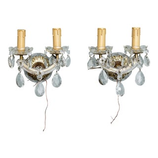 Italian Maria Theresa Two Light Crystal Sconces - A Pair
