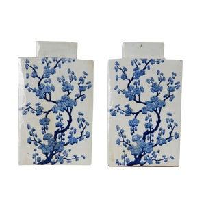 Cherry Blossom Blue & White Jars - A Pair