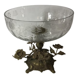 Victorian Crystal Bowl on Bronze Base