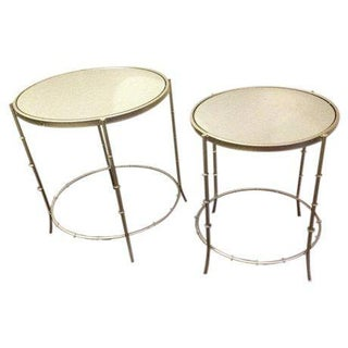 Gold Bamboo Stacking End Tables - A Pair