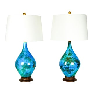 Vintage Glazed Ceramic Table Lamps - A Pair