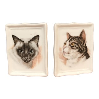 Cat Portrait on Bone China Plates - A Pair