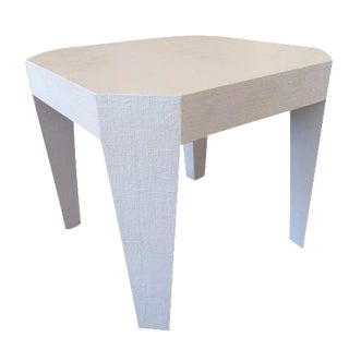 Vintage Gray Lacquered Grass Cloth Game Table