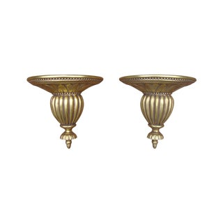 Gold Neoclassical Wood Sconce Shelves - A Pair