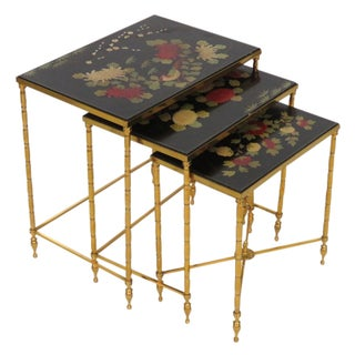 Brass Bamboo Form Chinoiserie Nesting Tables