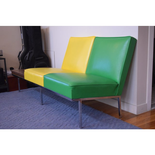 Modern Two-Tone Loveseat & Attached End Table - Image 5 of 7