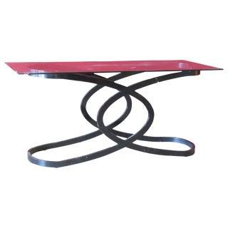 Deco Style Ebonized Glass Console Table