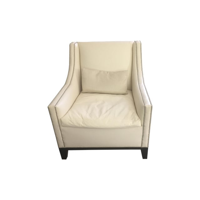 Image of Nailhead Trim Leather Club Chairs - A Pair