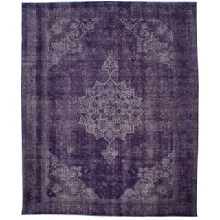 "Purple Vintage Persian Overdyed Rug - 9'11"" X 12'3"