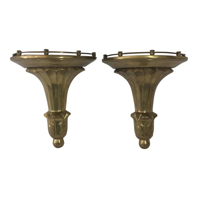 Brass Florentine Wall Sconce Shelf - A Pair - Image 1 of 11