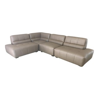 Brand New Custom Sectional. Retro Vibe. Left or Right Facing. Taupe/Grey Pleather 1/2 Price.