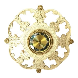 Hollywood Regency-Style French Plaster Clock