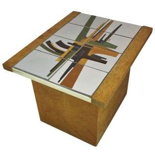 Burlwood and Art Tile-Top End Table