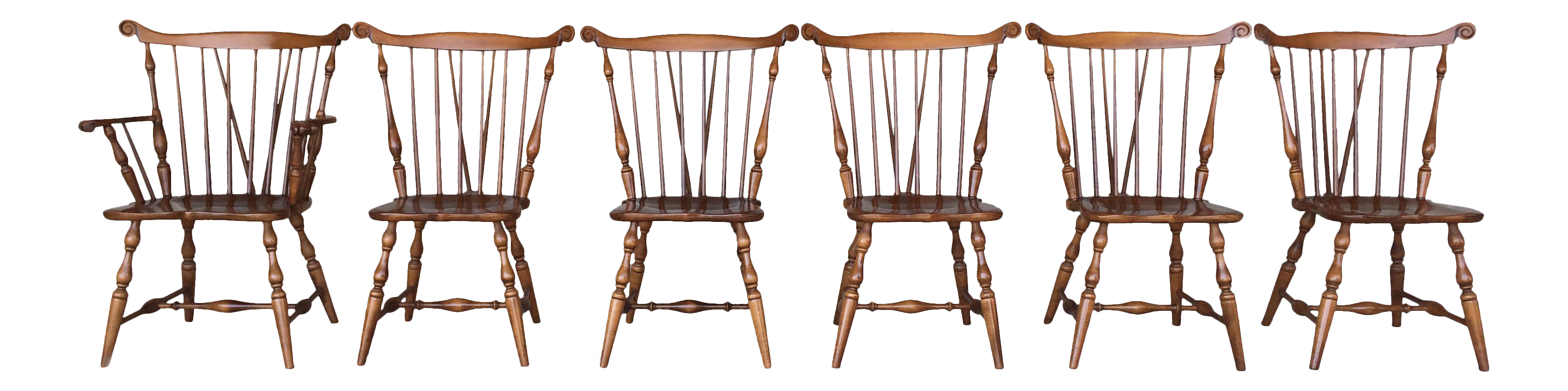 Tell City Maple Windsor Brace Back Dining Chairs   Set Of 6   Image 1 Of
