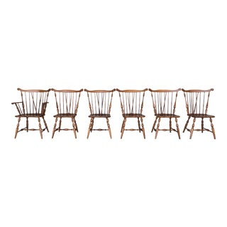 Tell City Maple Windsor Brace Back Dining Chairs - Set of 6