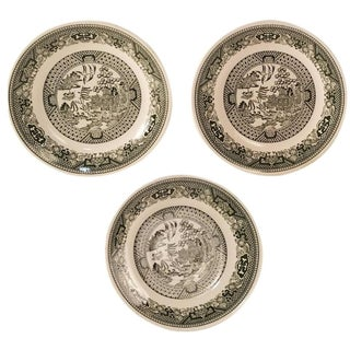 Green Willow Plates by Royal China - Set of 3
