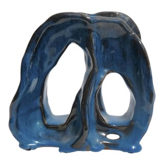 Vintage Blue Abstract Ceramic Sculpture