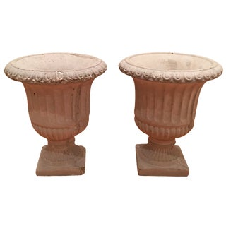 Small Concrete Urn Planters - A Pair