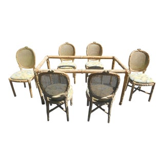 Hand-Carved Solid Mango Wood Dining Table & Chairs - Set of 7
