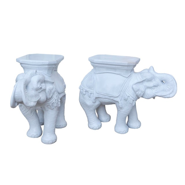 Vintage White Elephant Stools With Tassels - A Pair - Image 2 of 5
