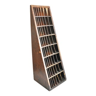 Large Antique Wood Typeset Organizer