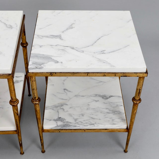 Pair of Spanish Gilt Metal and White Marble Side Tables - Image 5 of 11