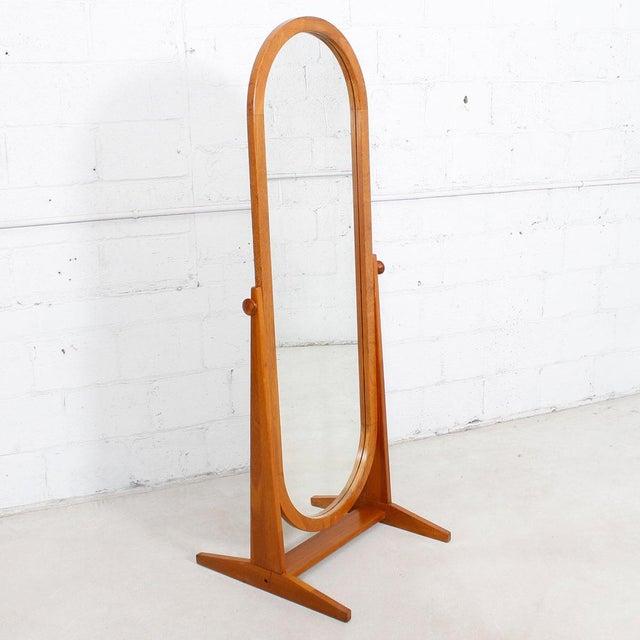 Full Length Teak Danish Modern Cheval Mirror Chairish