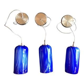 Molten Ocean Hand Blown Glass Pendants - Set of 3