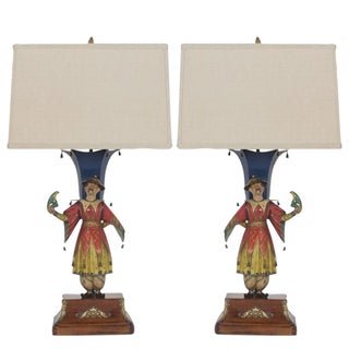 Pair of Tole Chinoiserie Figural Table Lamps, Exceptional