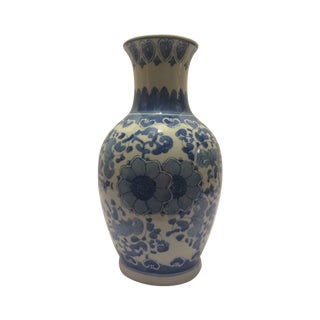 Chinosorie Vase with Delft Blue and Floral Motifs