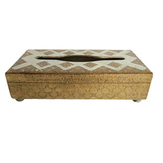 Antique Italian Florentine White and Gold Gilt Wooden Tissue Box Cover