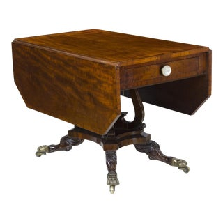 Classical Mahogany Drop Leaf Table with Crossed Lyres