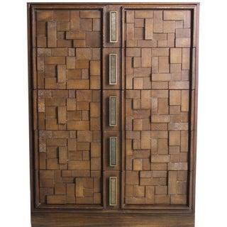 1960's Mid-Century Modern Brutalist Cubist Dark Walnut Dresser