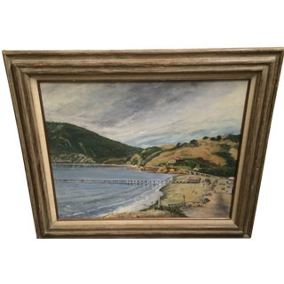 Vintage California Coastline Painting by Chet Hill