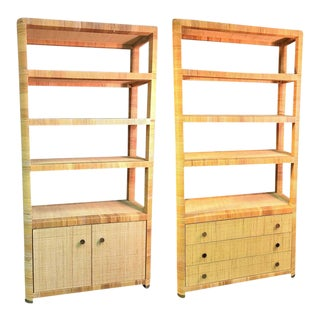 Rattan & Wicker Brass Accented Etageres - A Pair